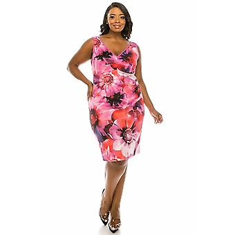 V-neck Zipper Back Sleeveless Floral Print Scuba Dress