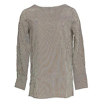BROOKE SHIELDS Timeless Women's Top Striped W/ Removable Tie Beige A342024