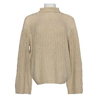 Lisa Rinna Collectie Women's Sweater Textured Wide Sleeve Beige A349567