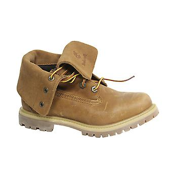 Timberland Lace Up Brown Leather Womens Roll Top Boots A18OS B16C