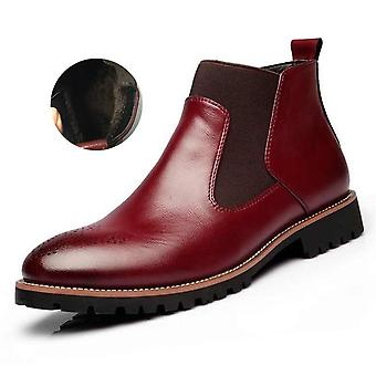 Men Chelsea Slip-on Waterproof Ankle Boots, Fashion Microfiber Leather Shoes