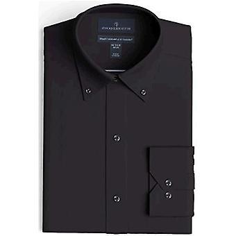 """Merk - Buttoned Down Men's Tailored Fit Button-Collar Pinpoint Non-Iron Dress Shirt, Zwart 17.5& Gt; Hals 33"""" Mouw"""
