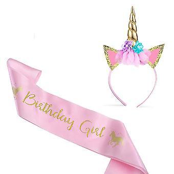 Amteker unicorn headband & ziua de nastere sash - cadouri unicorn pentru fete unicorn partid saci unicorn corn b