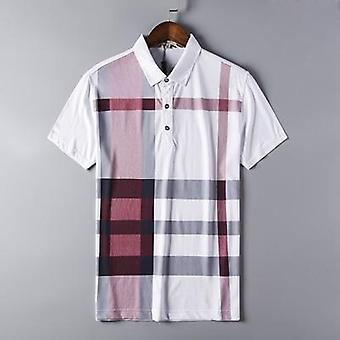 Summer Polo Shirt, Men's Clothing Cotton Short Sleeve Casual Plaid Tees