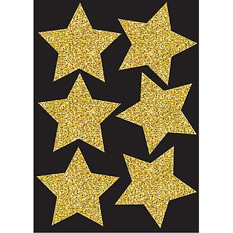 """Die-Cut Magnets, 4"""" Gold Sparkle Stars, Pack Of 6"""