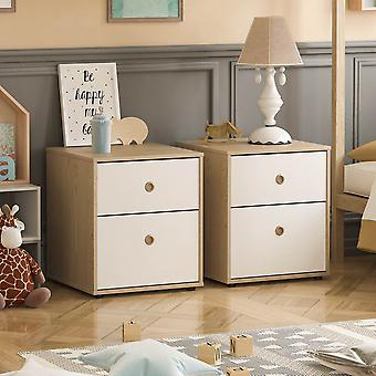 Neptune 2 Drawer Bedside Table Two-tone, White & Oak, Set of 2