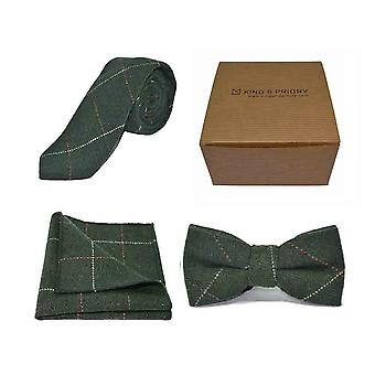 Gravata de Tweed Verde De luxo Herringbone Forest, Gravata e Amp; Pocket Square Set | Caixa