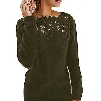 Nők Sexy Lace Hollow Out pulóverek hosszú ujjú pulóver felsők pulóver hölgyek O