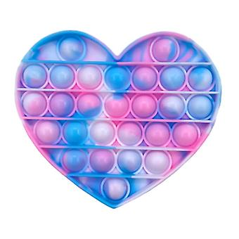 Material certificado® Pop It - Fidget Anti Stress Toy Toy Toy Toy Silicone Heart Blue-Pink-White