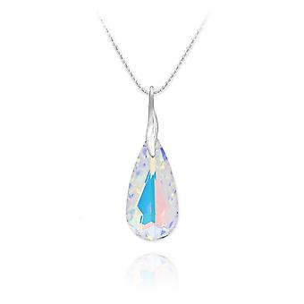 Multifaceted crystal teardrop necklace
