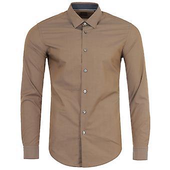 BOSS Ronni Awatti Cotton Slim Fit Shirt - Light Brown