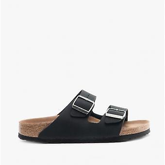 Birkenstock Arizona 1019057 (nar) Ladies Birko-flor Nubuck Two Strap Sandals Black