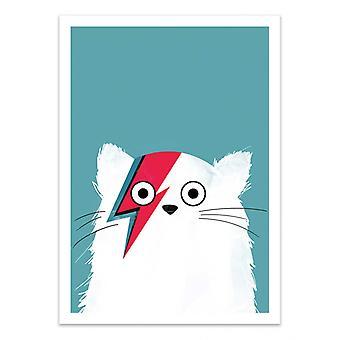 Art-Poster - Cat Bowie White - Doozal