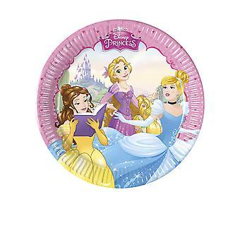8 Petites assiettes en carton Princesses Disney cœur 20 cm