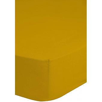 sträckt sängduk 160 x 200 bomull/satin gul