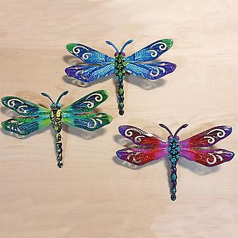 Joe Davies Set Of 3 Small Metallic Metal Dragonflies Decorative Garden Wall Art 281053abe