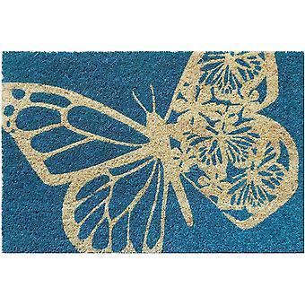 Wokex Schmetterling rutschfeste Coir Fumatte, Kokosfaser, blau, 40 cm x 60 cm x 15 mm