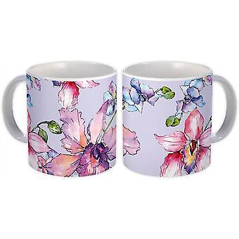 Caneca de Presente: Orquídeas Desenhadas com Lápis Exótica