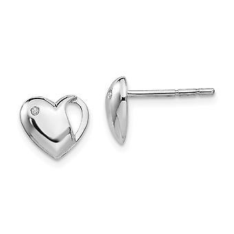 925 Sterling Silver Polerad Post Örhängen Vit Is .01ct. Diamond Love Heart Örhängen Mäter 9x10mm breda smycken Gif