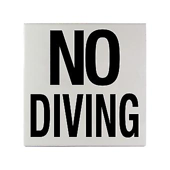 """Inlays C611501 6"""" x 6"""" NO DIVING Message Smooth Ceramic Tile"""
