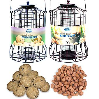 1 x Pair of Simply Direct Squirrel Guard Hanging Nut and Fat Ball Feeders with 3.6KG Bag of Peanuts and Tub of 50 Suet Fat Ball Feed for Wild Garden Birds