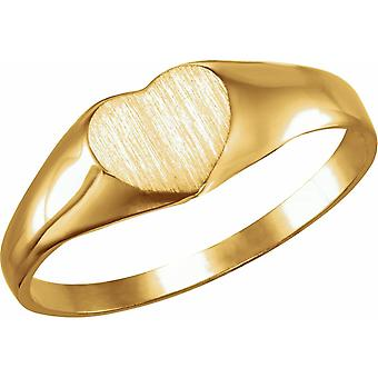 14k Yellow Gold Love Heart 6mm Brush Finished Polished Signet Ring Size 3 - .9 Grams