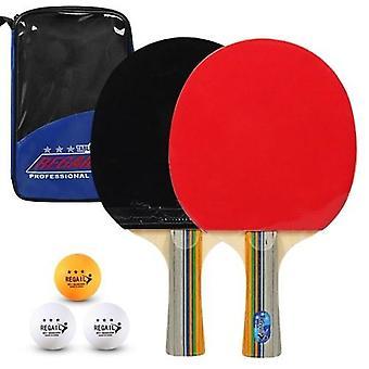 ピンポンパドル品質卓球ラケット2ピンポンバットロングショートハンドルピンポンラケットセット