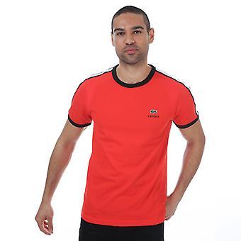 menns lacoste racing stripe ultralett t-skjorte i oransje