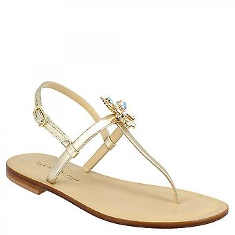 Leonardo Shoes Women's handmade thong sandals in platinum leather with butterfly with colored rhinestones