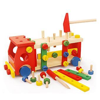 עגלת כלי עץ לילדים נשלפים, צעצוע חינוכי להורה-ילד משפחתי