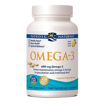 Nordic Naturals Oméga-3, 1000 mg, Gélatine de poisson 60 gélules