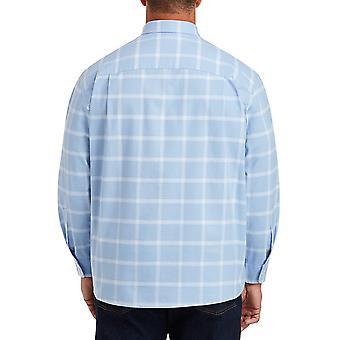 Essentials Herren Big & Tall Langarm Windowpane Pocket Shirt Fit von DXL