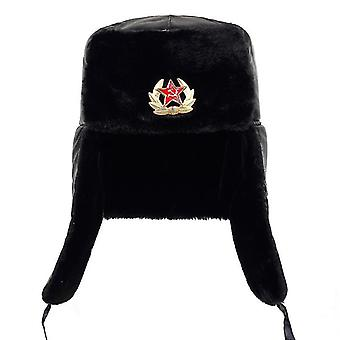 Armata sovietică Insigna militară Rusia Ushanka Bomber Hats (Negru)