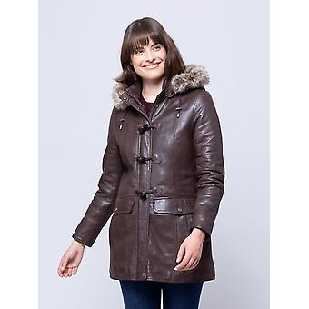 Dockray Hooded Leather Duffle Coat in Brown