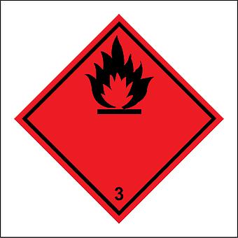 HA099 Flammable 3 Sign with Flames