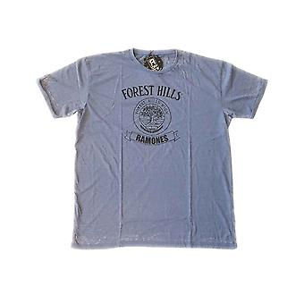 Ramones T Shirt Forest Hills Vintage Band Logo ny officiell Mens Mid Blue