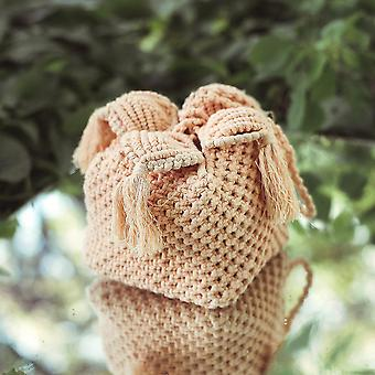 Cotton Strap Handle Box Bag