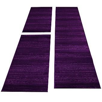 Kurzflor Läuferset Teppich 3-teilig Bettumrandung Teppichläufer Einfarbig Lila