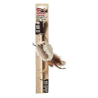 Spot Squeakeeez Mouse Teaser Wand Cat Toy Assorted Colors - 1 count