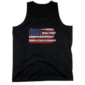 PA State USA Flag Men's Tank Top Pennsylvania American Flag Tanks