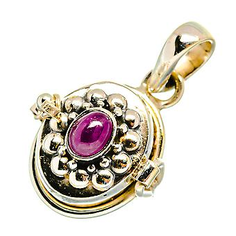"""Ruby Poison Pendant 7/8"""" (925 Sterling Silver)  - Handmade Boho Vintage Jewelry PD10718"""