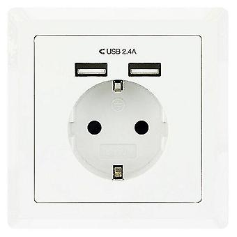 Hubs switches wall plug with 2 usb ports 10.35.0010 5V/2.4A white