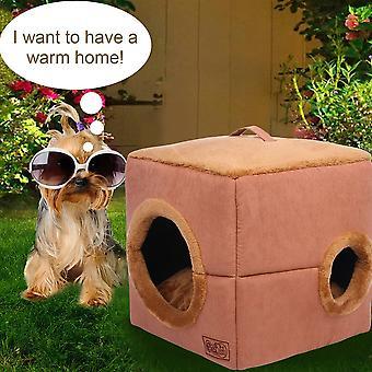 Würfelförmiges Hundekatzenbett Plüsch Winddicht Warm Weich Haustier Haus Schlafsack