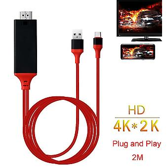 Usb Type C To Hdmi W/charging Cable For Macbook Pro, Imac, Samsung Galaxy S10, Note 9 8, S8, S10/s10e,chromebook Pixel,3-in-1 Design, Multi-function,