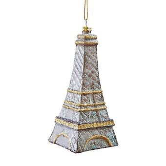 Oh La La French Eiffel Tower Christmas Holiday Glass Ornament