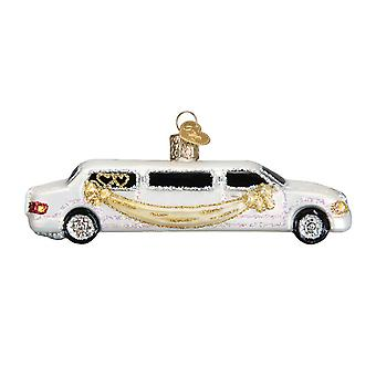 Old World Christmas Just Married Fine White Limo Holiday Ornament Glass 5 Inches