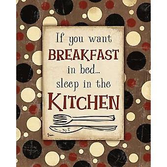 Desayuno cocina cartel marrón impresión por Diane Stimson