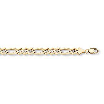 14K guld Figaro länk armband (10mm)