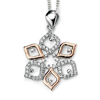 925 Silver Rose Gold Plated Leaf And Zirconium Necklace