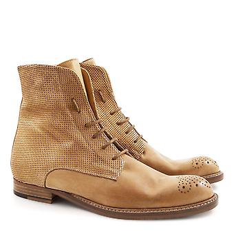 Handmade women's tan leather flat mid-calf boots